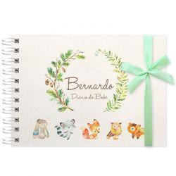 Livro do Bebê - diário para registrar momentos especiais personalizado tema bichinhos da floresta