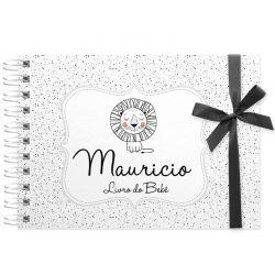 Livro do Bebê - diário para registrar momentos especiais personalizado tema leãozinho