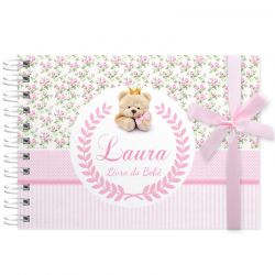 Livro do Bebê - diário para registrar momentos especiais personalizado tema ursinha floral