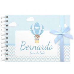 Livro do Bebê - diário para registrar momentos especiais personalizado tema ursinho e balões