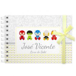 Livro do Bebê - diário para registrar momentos especiais personalizado tema vingadores baby