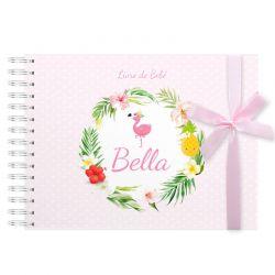 Livro do Bebê Personalizado Flamingo
