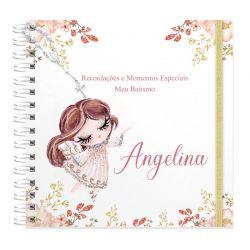 Livro personalizado meu Batismo memórias e recordações tema anjinha floral rosa seco