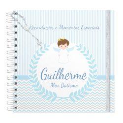 Livro personalizado meu Batismo memórias e recordações tema anjinho azul claro