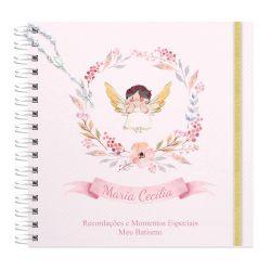 Livro personalizado meu Batismo memórias e recordações tema floral e anjinho