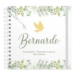 Livro personalizado meu Batismo memórias e recordações tema folhagens e pombinha