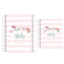 Planner  2020 bike listras florais rosa