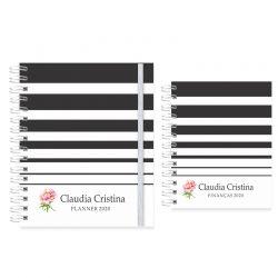 Planner  2020 listras preto e branco floral