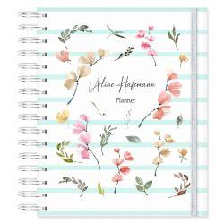 Planner Permanente Personalizado Floral e Listras