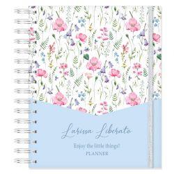Planner Permanente Personalizado Floral Azul