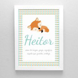 Quadrinho para decoração do quarto ou maternidade  tema raposinha  bichinhos da floresta