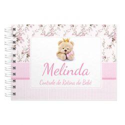 Rotina do Bebê e controle de mamadas personalizado tema ursinha princesa e floral