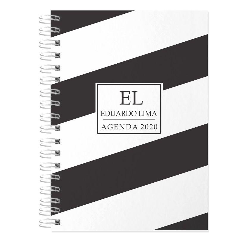 Agenda 2020 personalizada masculina preto e branco  - Valentina Milan Lembrancinhas e Papelaria