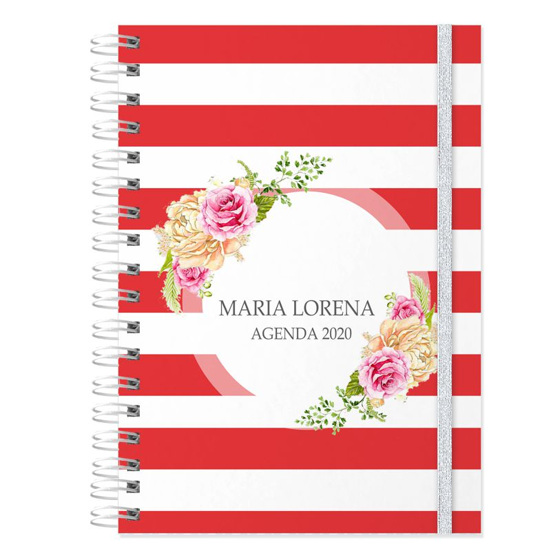 Agenda personalizada 2020 floral e listrado vermelho  - Valentina Milan Lembrancinhas e Papelaria
