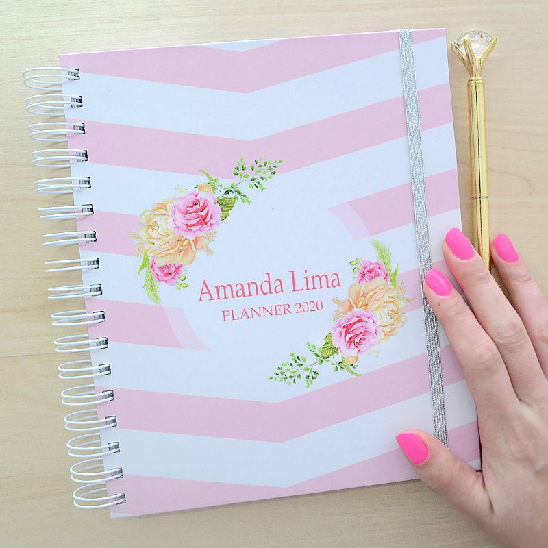 Planner 2020 personalizado floral listrado chevron  - Valentina Milan Lembrancinhas e Papelaria