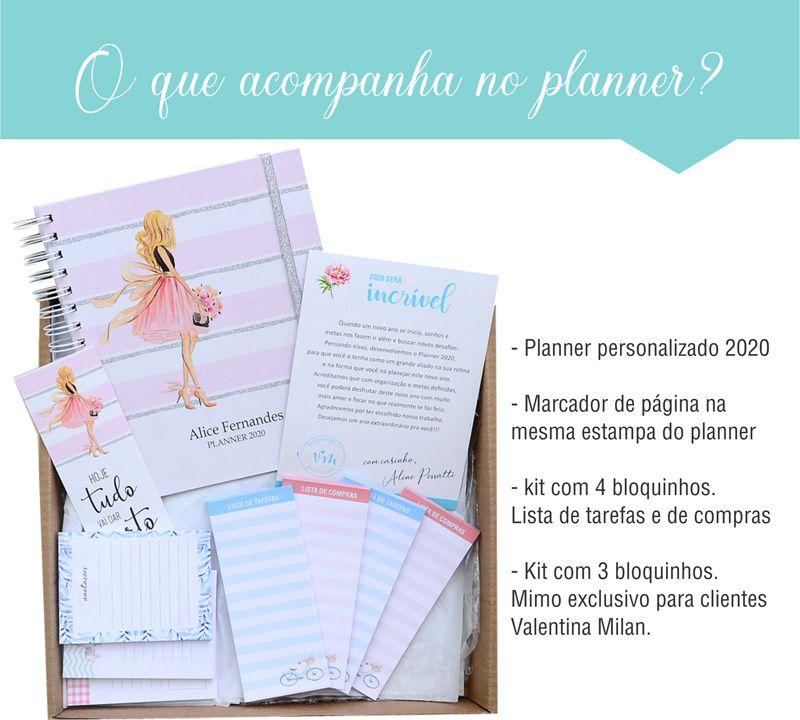 Planner 2020 personalizado listras e glamour  - Valentina Milan Lembrancinhas e Papelaria
