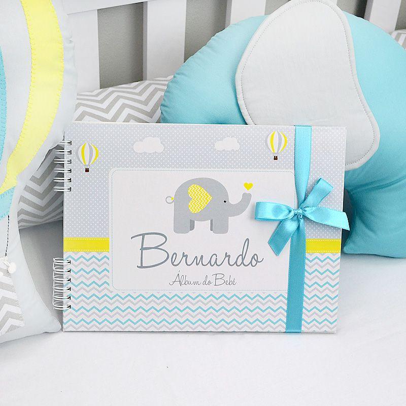 Álbum e diário do bebê para registrar momentos especiais personalizado no elefante e balões chevron  - Valentina Milan Lembrancinhas