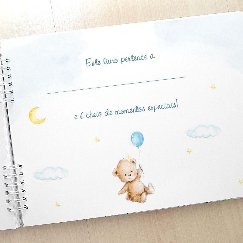 Álbum e diário do bebê para registrar momentos especiais personalizado no tema astronauta e espaço  - Valentina Milan Lembrancinhas