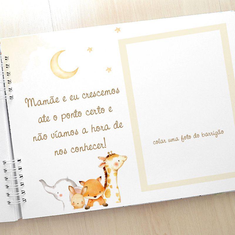 Álbum e diário do bebê para registrar momentos especiais personalizado no tema dinossauro  - Valentina Milan Lembrancinhas