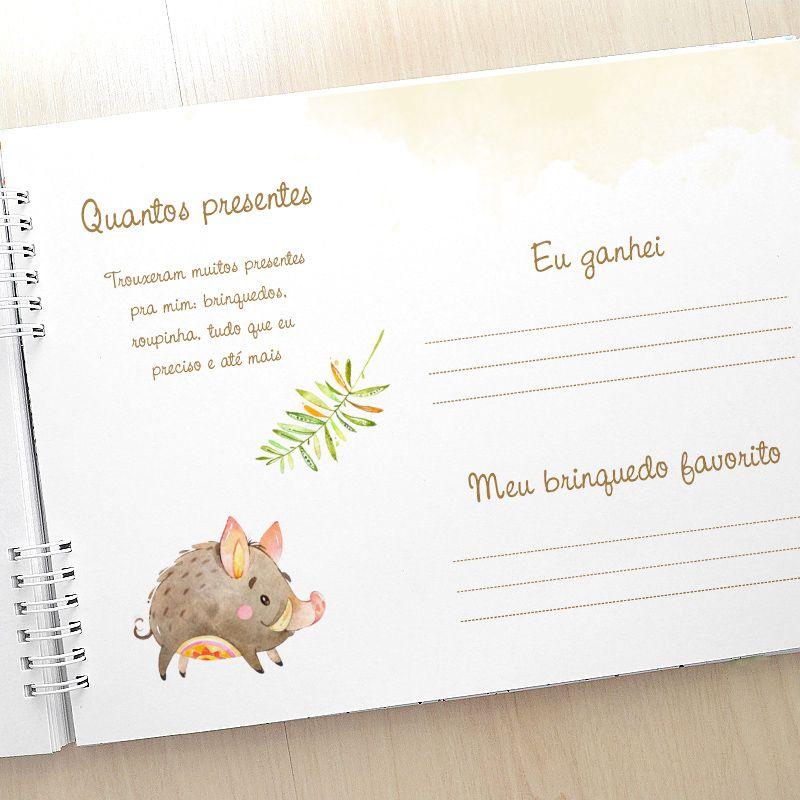 Álbum e diário do bebê para registrar momentos especiais personalizado no tema raposinha   - Valentina Milan Lembrancinhas