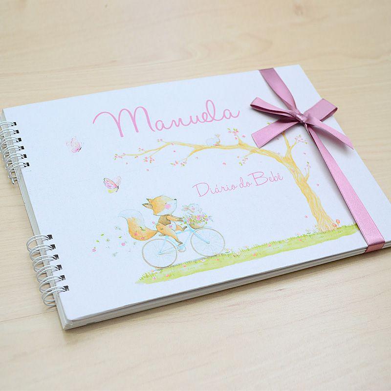 Álbum e diário do bebê para registrar momentos especiais personalizado no tema  rosa seco  - Valentina Milan Lembrancinhas