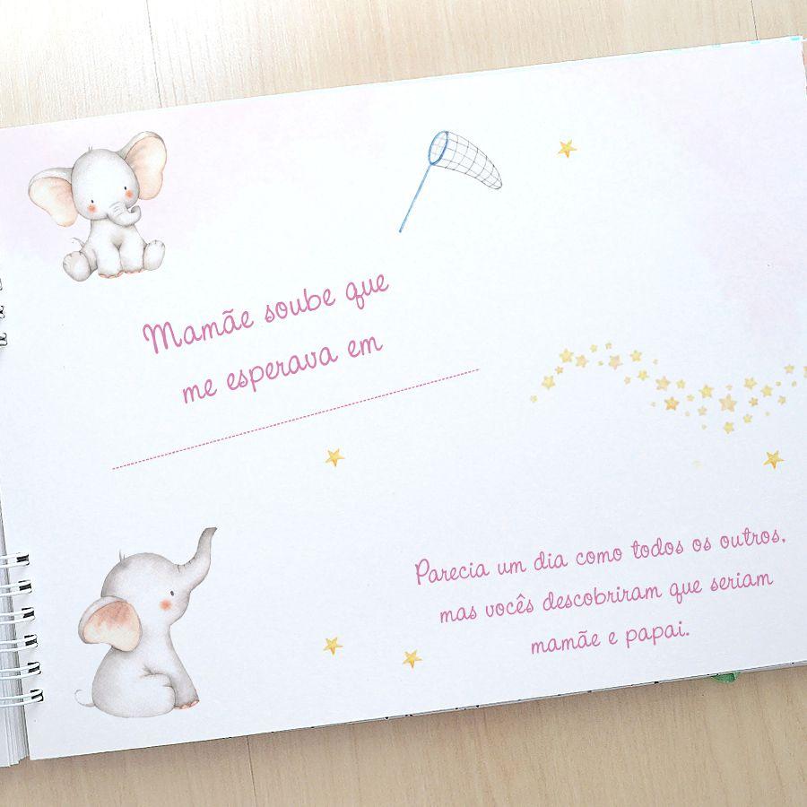 Álbum e diário do bebê para registrar momentos especiais personalizado no tema safari menina e bichinhos  - Valentina Milan Lembrancinhas