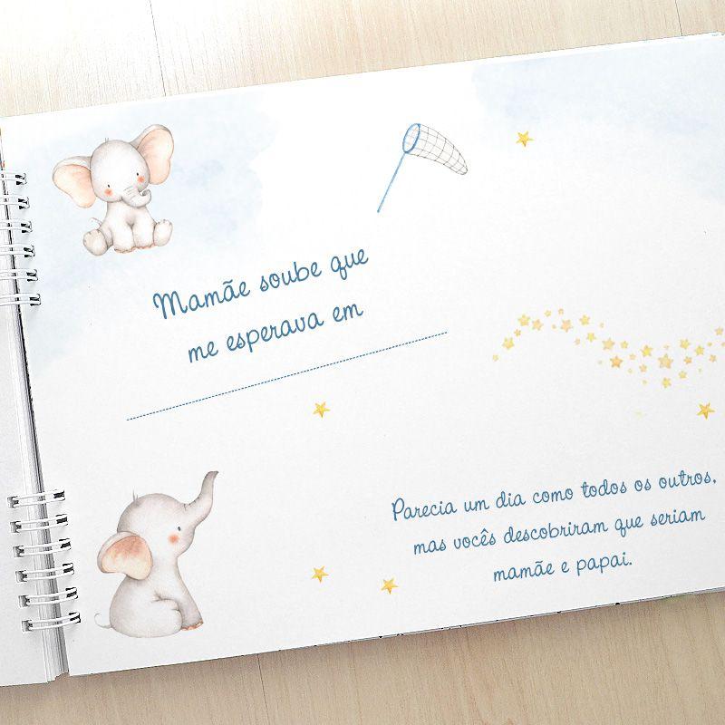 Álbum e diário do bebê para registrar momentos especiais personalizado no tema ursinho e balão  - Valentina Milan Lembrancinhas
