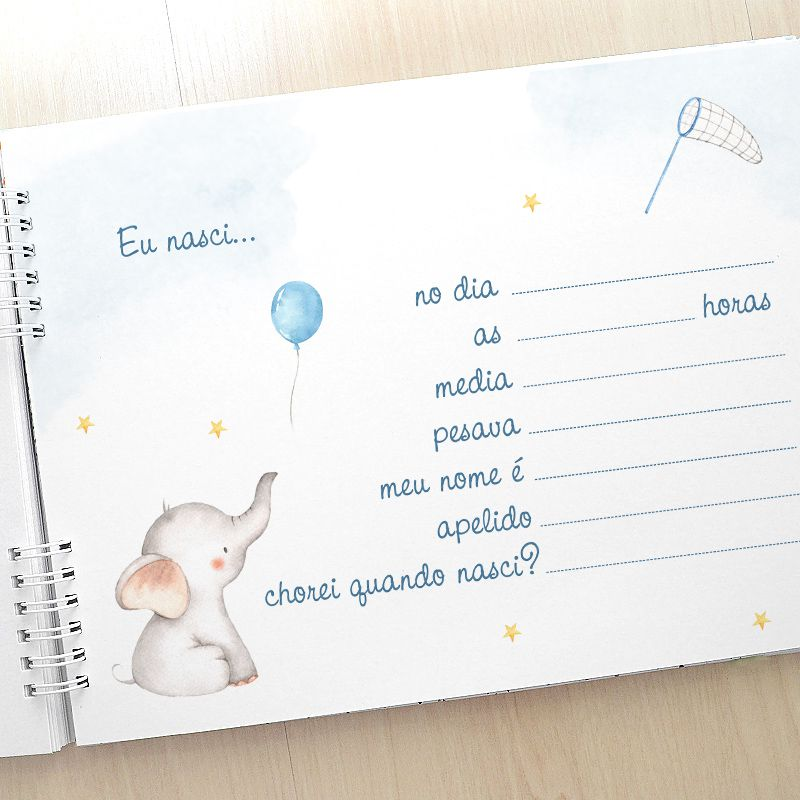 Álbum e diário do bebê para registrar momentos especiais personalizado tema chuva de amor e nuvens  - Valentina Milan Lembrancinhas