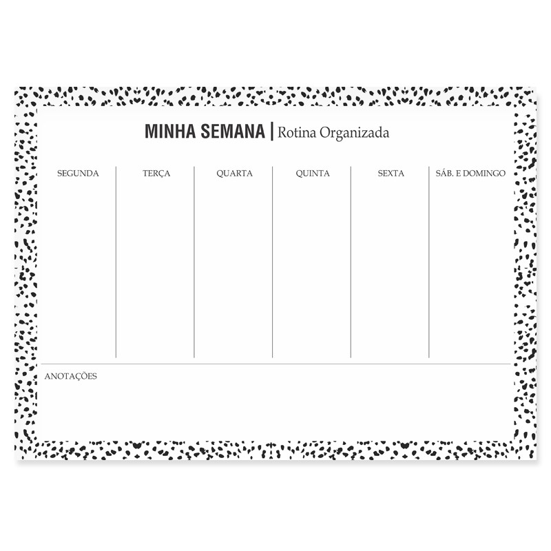Bloco Semanal Planner de Mesa - Animal Print
