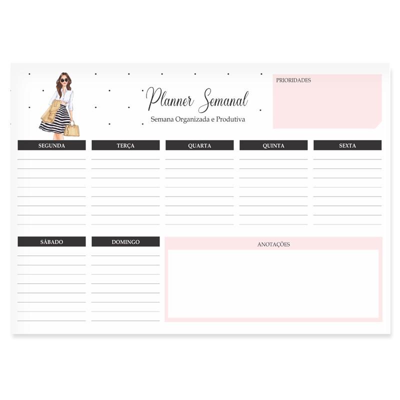 Bloco Semanal Planner de Mesa - Mulher Empoderada