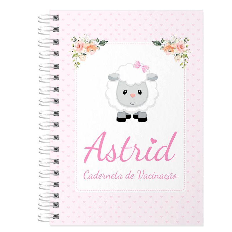 Caderneta de Vacinação e Saúde Personalizada completa menina  tema ovelhinha  - Valentina Milan Lembrancinhas