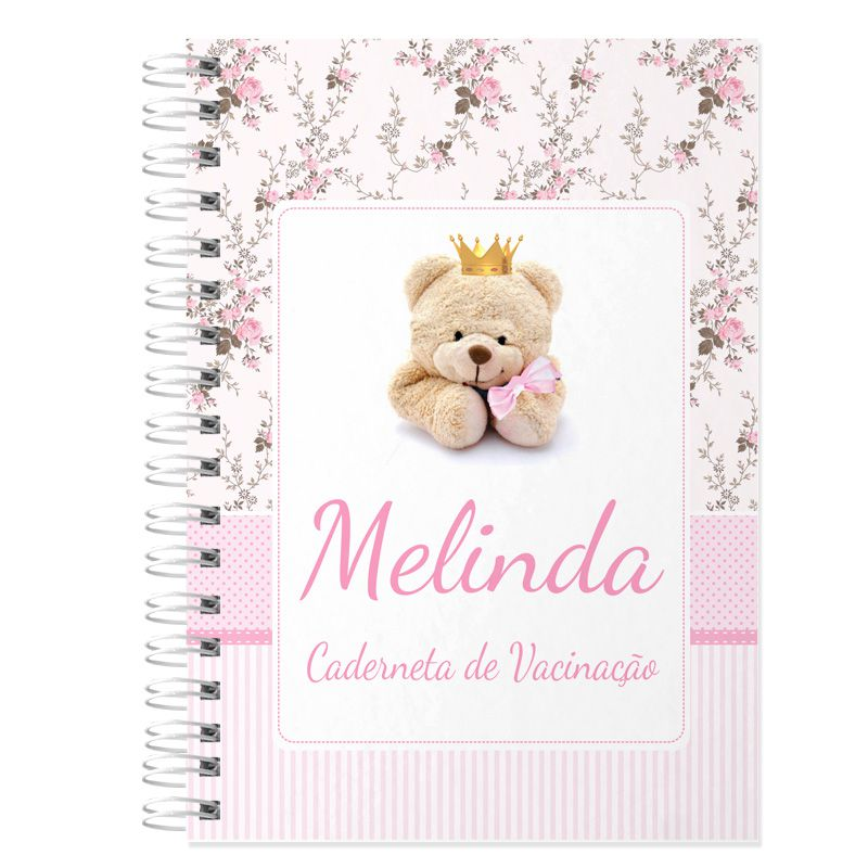 Caderneta de Vacinação e Saúde Personalizada completa menina tema ursinha e floral  - Valentina Milan Lembrancinhas
