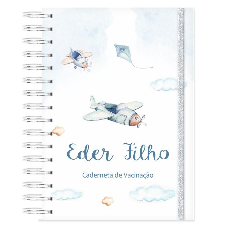 Caderneta de Vacinação personalizada aviões  - Valentina Milan Papelaria