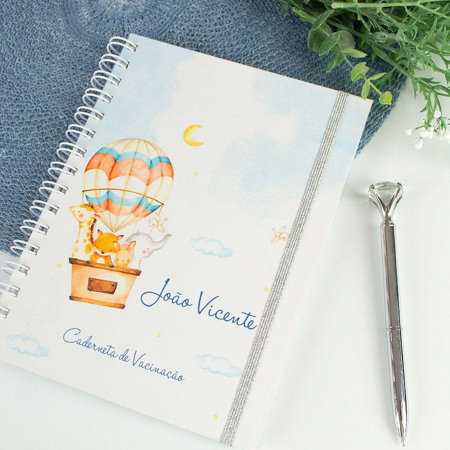 Caderneta de Vacinação personalizada ursinho e balões  - Valentina Milan Papelaria
