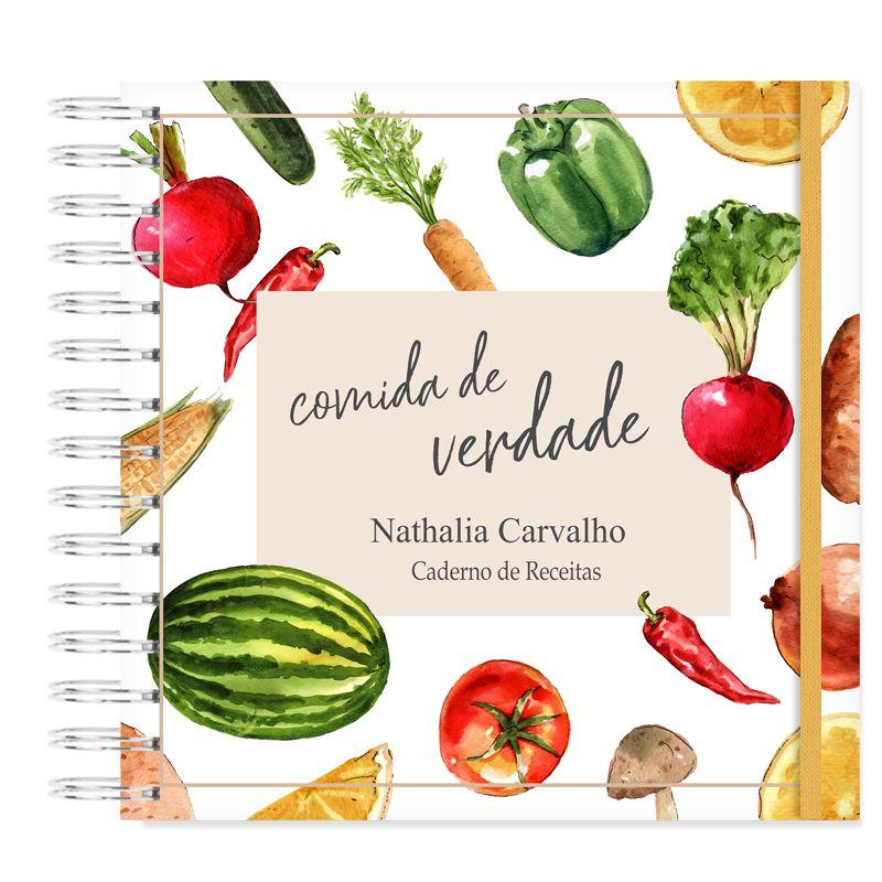 Caderno de Receitas - Comida de Verdade  - Valentina Milan Papelaria