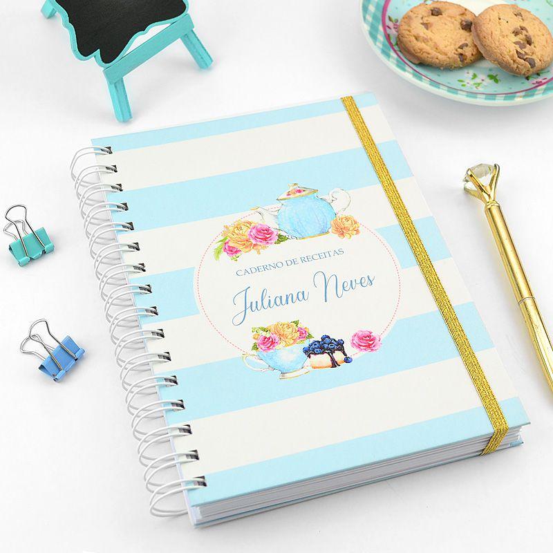Caderno de Receitas Personalizado  - Valentina Milan Papelaria