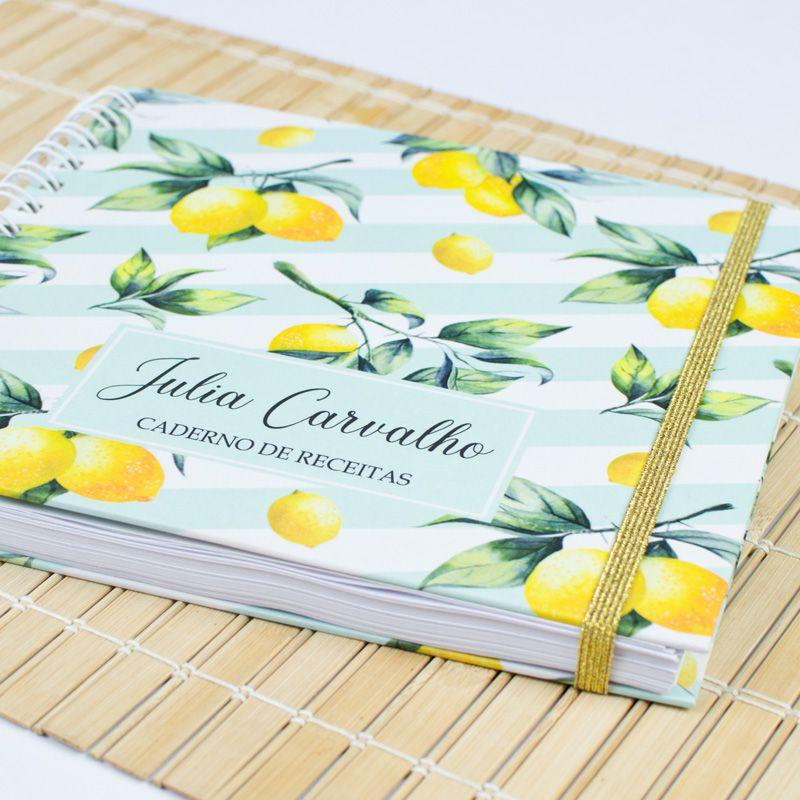 Caderno de Receitas Personalizado  tropical  - Valentina Milan Papelaria