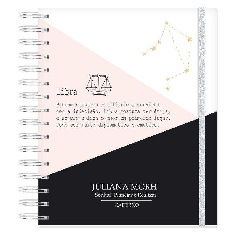 Caderno personalizado Signo Libra  - Valentina Milan Papelaria
