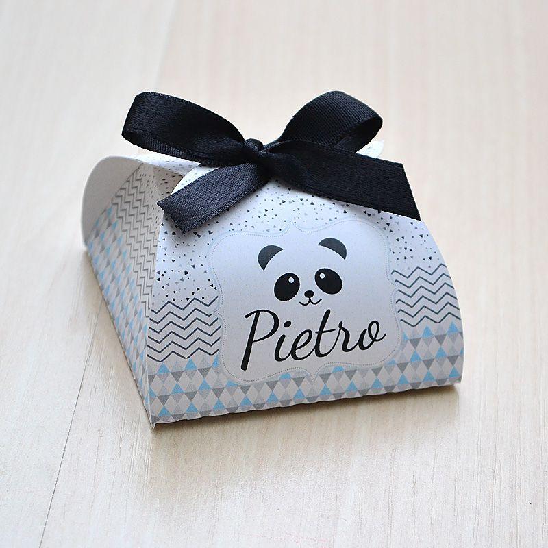 Caixinha personalizada para bombom ou bem nascido tema panda preto e cinza  - Valentina Milan Lembrancinhas