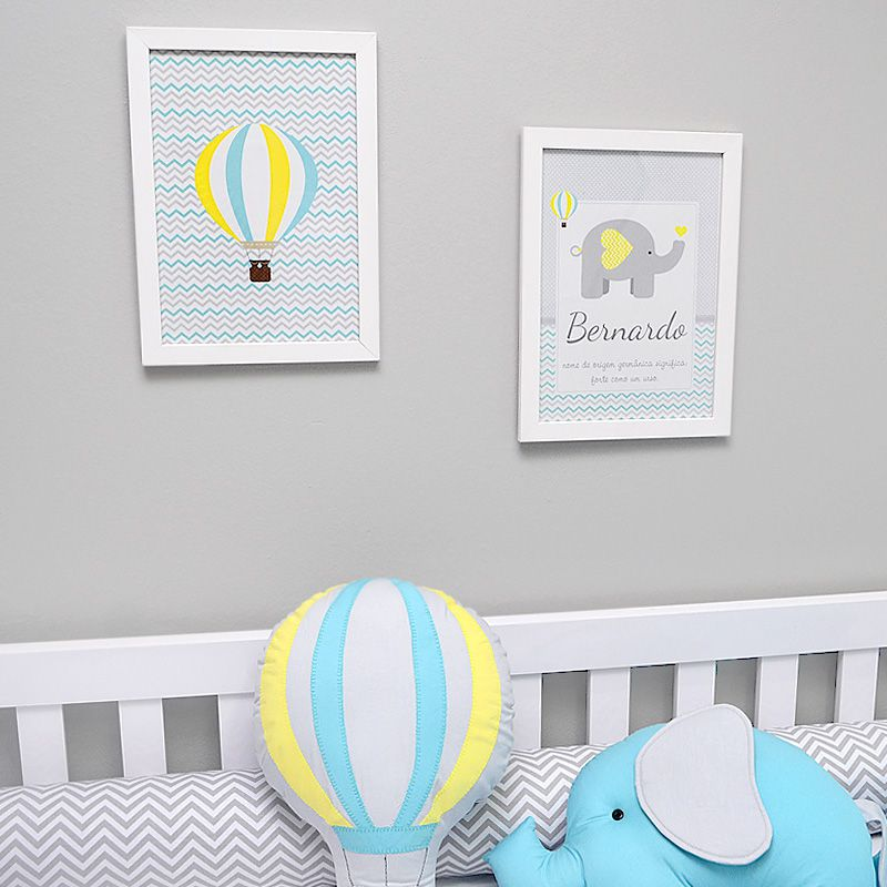 Conjunto de 2 quadrinho para decoração do quarto ou maternidade  tema elefante e balões chevron  - Valentina Milan Lembrancinhas