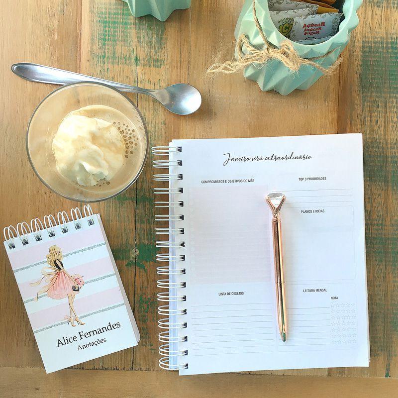 Planner 2020 personalizado listras azul claro pastel  - Valentina Milan Lembrancinhas e Papelaria