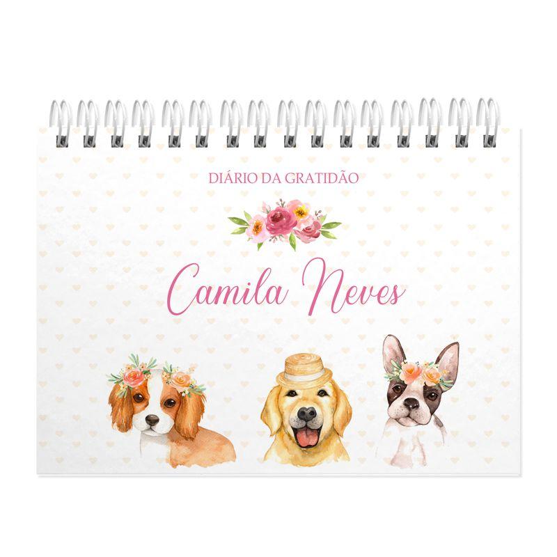 Diário da Gratidão personalizado cachorrinhos  - Valentina Milan Lembrancinhas e Papelaria