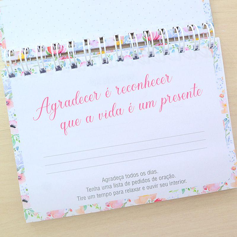 Diário  da Gratidão  personalizado estampa floral chevron verde menta  - Valentina Milan Lembrancinhas