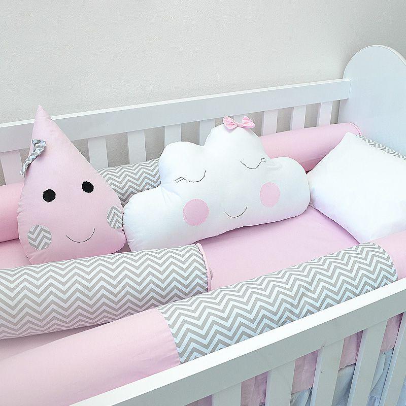 Kit de berço para o bebê completo 9 peças tema chuva de amor e nuvens + álbum do bebê  - Valentina Milan Lembrancinhas