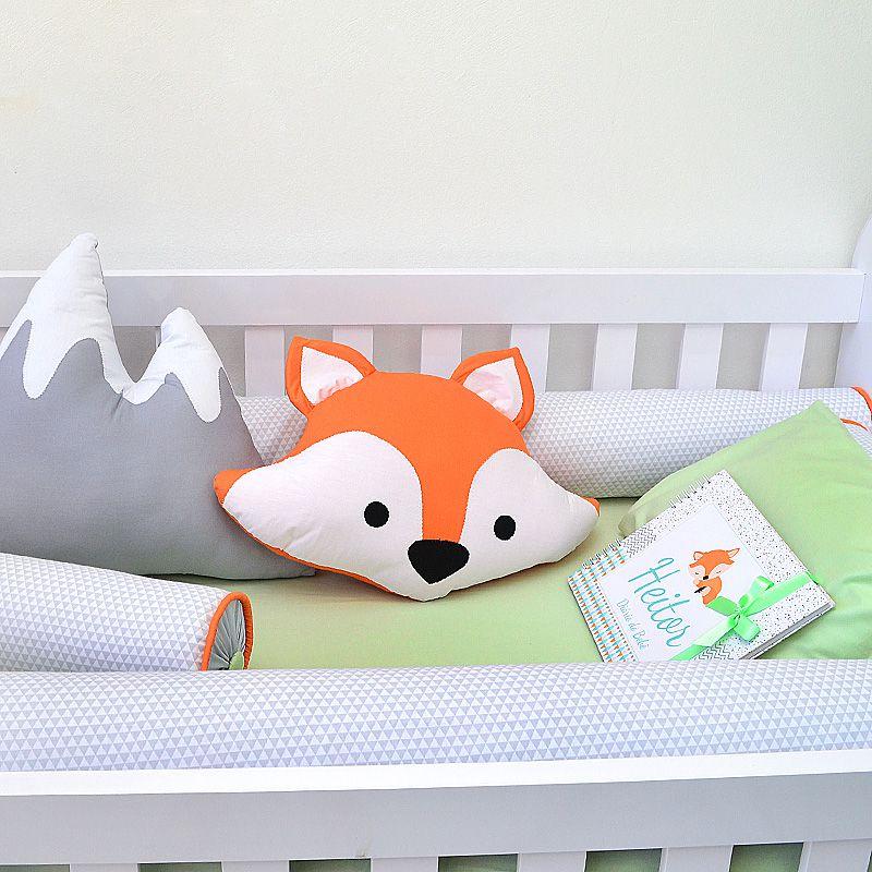 Kit de berço para o bebê completo 9 peças tema raposinha  bichinhos da floresta + álbum do bebê  - Valentina Milan Lembrancinhas