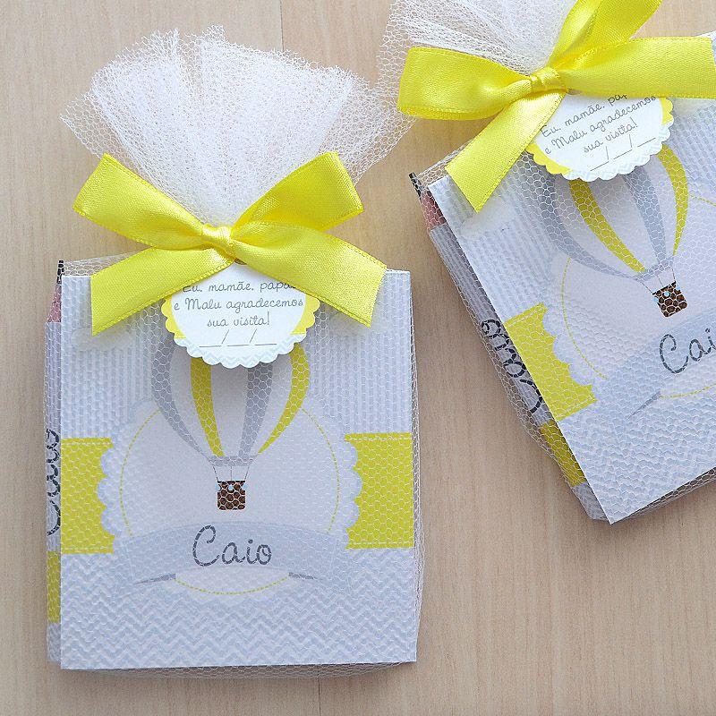 Lembrancinhas personalizadas de maternidade bloco de anotações  e lapis tema balões amarelo e cinza  - Valentina Milan Lembrancinhas e Papelaria