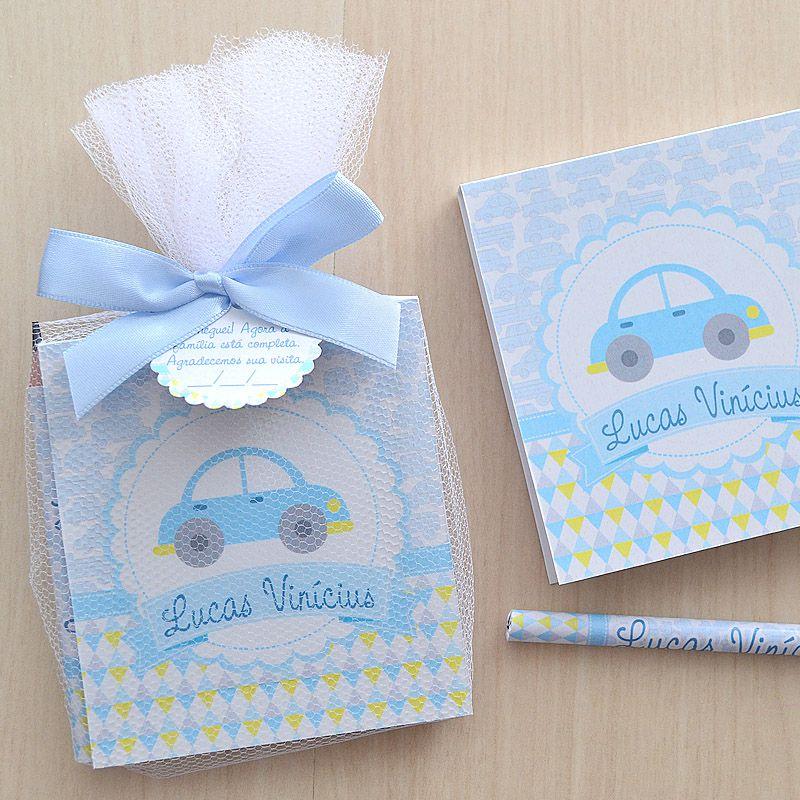 Lembrancinhas de menino maternidade bloco de anotações e lápis tema carrinhos  - Valentina Milan Lembrancinhas e Papelaria