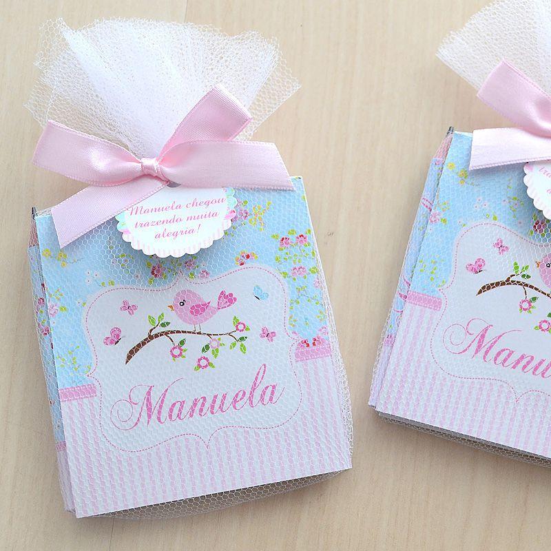 Lembrancinha de menina maternidade ou nascimento bloquinho de anotações tema jardim e passarinhos  - Valentina Milan Lembrancinhas e Papelaria