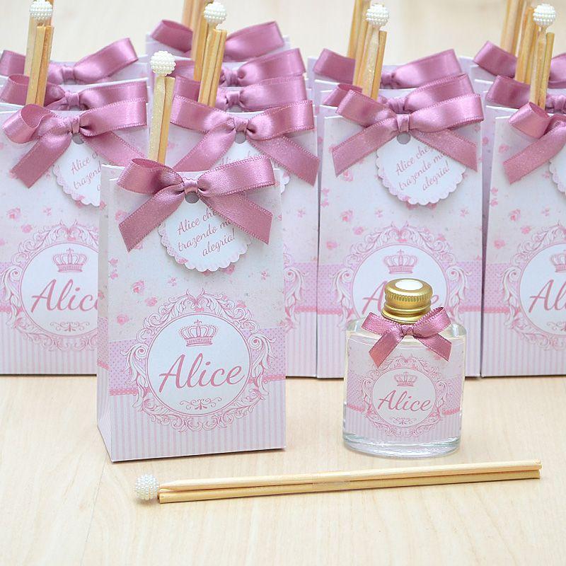Lembrancinha caixinha com difusor de ambiente tema floral rosa seco  - Valentina Milan Lembrancinhas