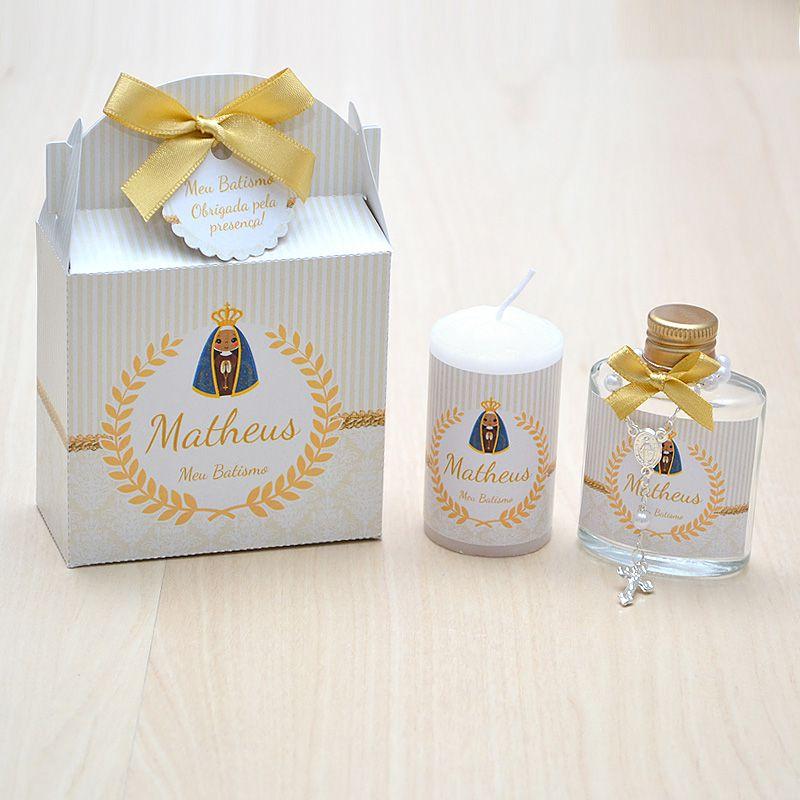 Lembrancinha caixinha com vela e água benta com mini terço nossa senhora   - Valentina Milan Lembrancinhas